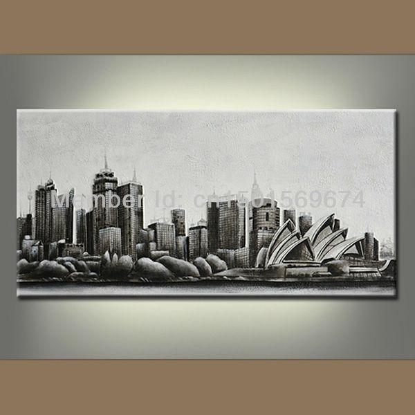 Night New York City Landscape Oil Painting Hand Painted Modern Regarding Abstract Canvas Wall Art Australia (Image 9 of 20)