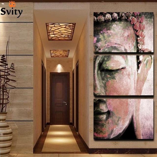 No Frame 3Pcs Abstract Buddha Wall Art Paintings Home Decor For In Abstract Buddha Wall Art (View 2 of 20)
