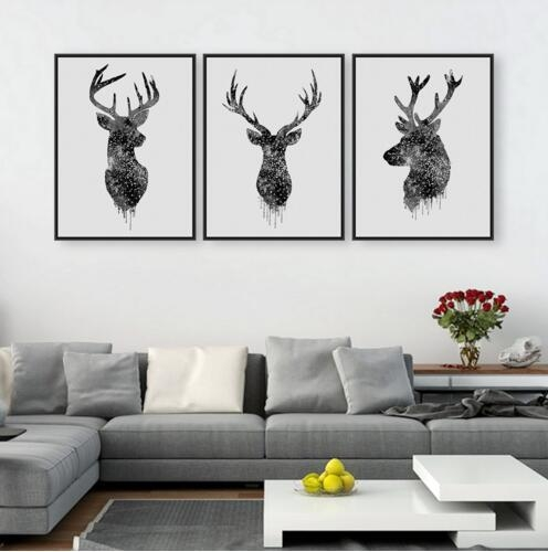 No Frame Rectangle Watercolor Modern Print Deer Head Paintings Inside Abstract Deer Wall Art (Image 19 of 20)