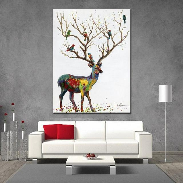 Noah Hand Painted Wall Art Decoration Picture Modern Abstract Throughout Abstract Deer Wall Art (Image 20 of 20)