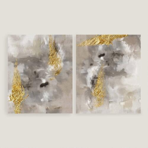 Of Gold I And Ii Gray And Gold Wall Art Inside Black And Gold Abstract Wall Art (Image 16 of 20)