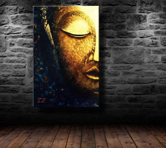 Oil Painting Modern Art Glowing Buddha Canvas Within Abstract Buddha Wall Art (View 11 of 20)