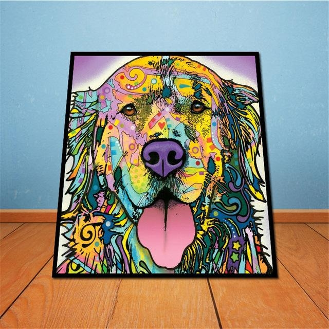 On Canvas Golden Retriever Unframed Room Decor Modern Huge Wall Throughout Abstract Dog Wall Art (Image 16 of 20)
