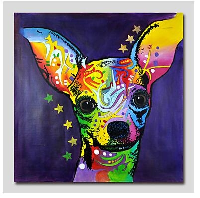 One Piece Hand Painted Modern Canvas Oil Painting Wall Decor Pop Intended For Abstract Dog Wall Art (Image 17 of 20)