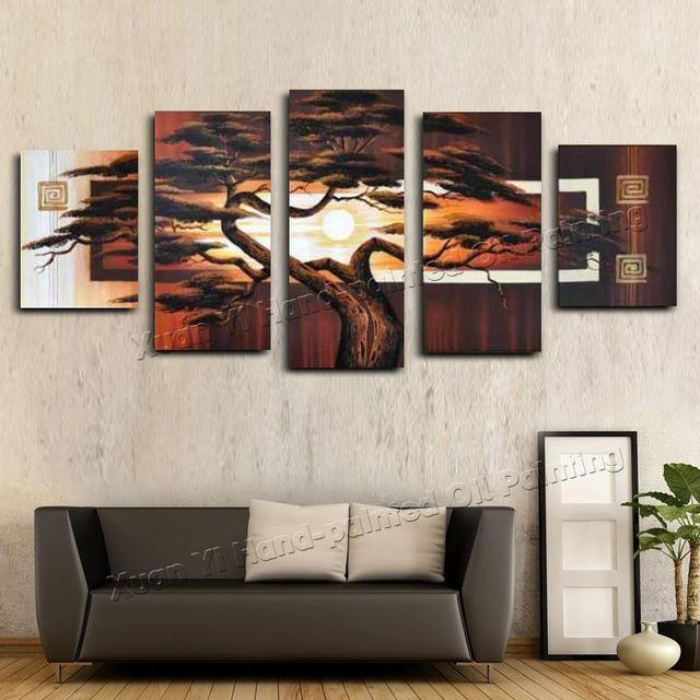 Online Shop Hand Painted Wall Art Tree Sunshine Red Sun Mountain With Regard To Abstract African Wall Art (Image 18 of 20)
