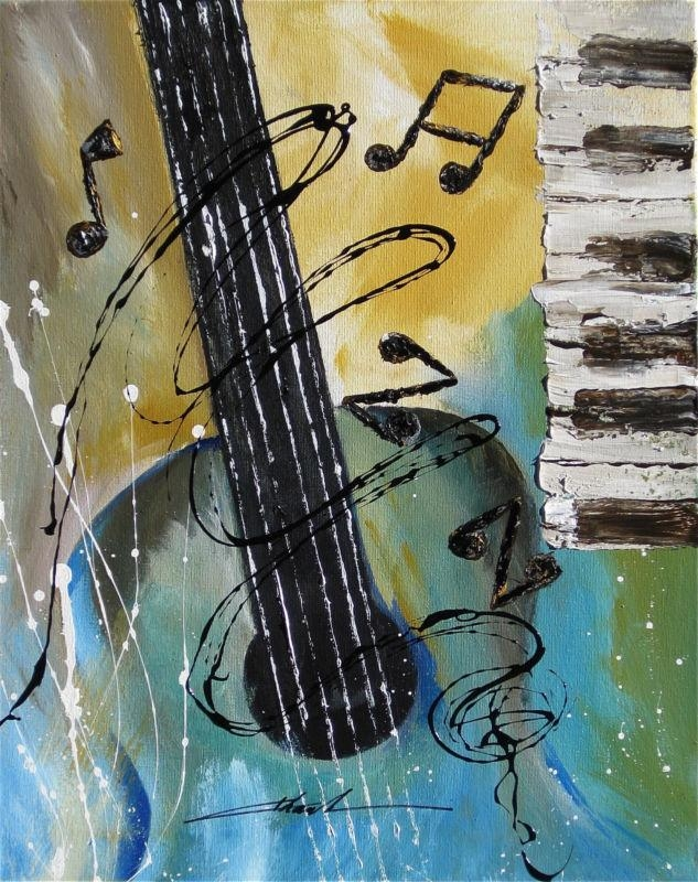 Orginal Art Absrtact Painting Jazz Guitar Piano Music Notes By With Abstract Musical Notes Piano Jazz Wall Artwork (View 3 of 20)