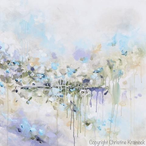 Original Art Abstract Painting Blue White Grey Lavender Coastal With Abstract Floral Wall Art (Image 18 of 20)