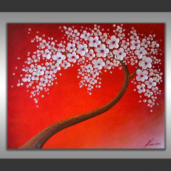 Original Fine Art, Abstract Tree Painting, 20 Inch Round Wall Art  Throughout Abstract Cherry