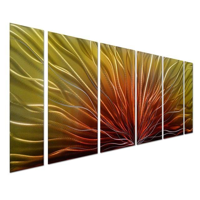 Original Handcraft Aluminum Metal Wall Art Peacock Feather 3D Throughout Aluminum Abstract Wall Art (Image 20 of 20)