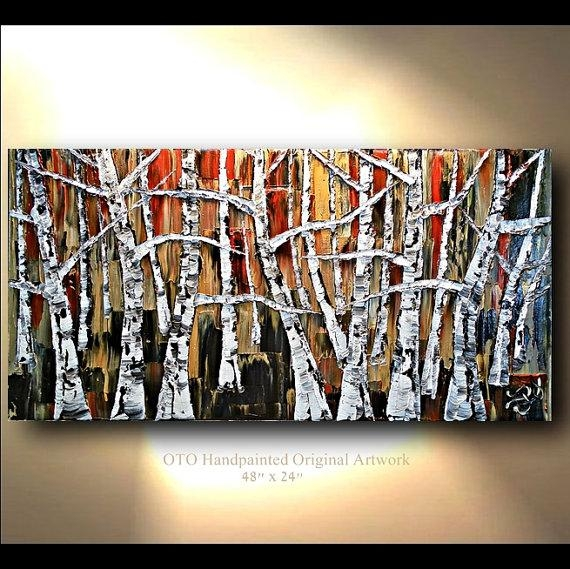 Original Oil Painting 24X48 Red Brown Black White Gold Metallic Regarding Black And Gold Abstract Wall Art (Image 18 of 20)