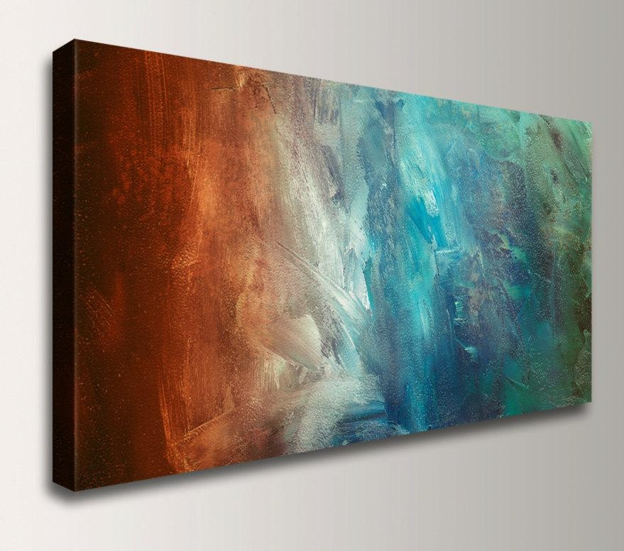 Panoramic Art – Abstract Painting Reproduction – Canvas Print Pertaining To Blue And Brown Abstract Wall Art (Image 15 of 20)