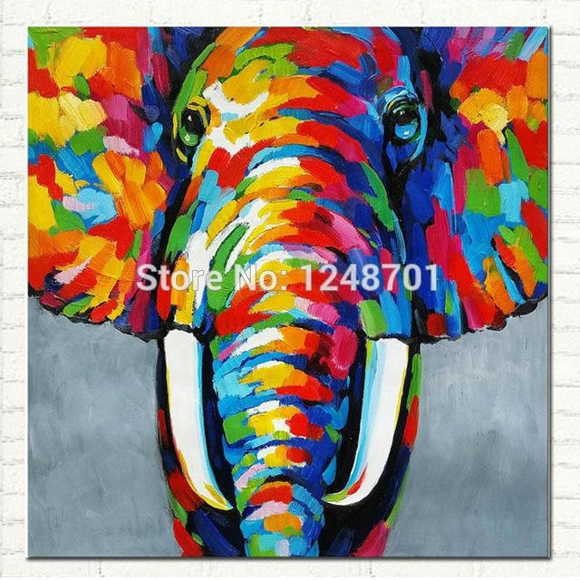 Pop Art Hand Painted Elephant Oil Painting On Canvas African For Abstract Elephant Wall Art (Image 18 of 20)