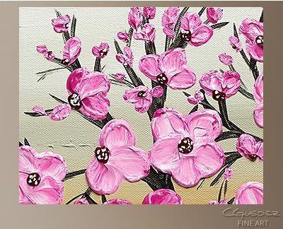 Poppy Flower Painting Cherry Blossom Flower And Tree Paintings In Abstract Cherry Blossom Wall Art (Image 19 of 20)
