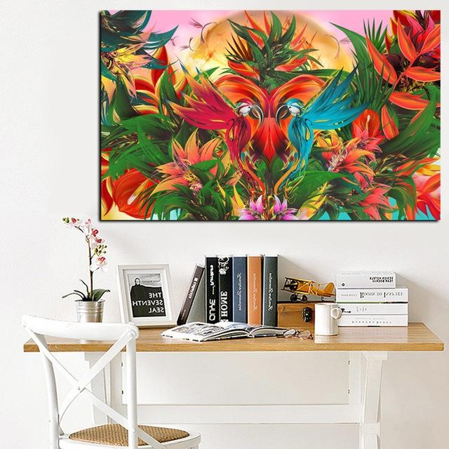 Print Tropical Jungle Flowering Bird Of Paradise Abstract Oil Regarding Abstract Bird Wall Art (Image 17 of 20)