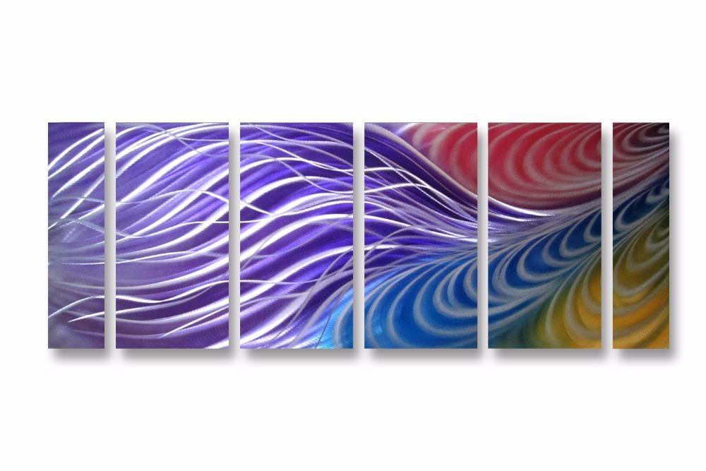 Purple Magic Line Excellent Metal Aluminum Wall Art Original Large For Abstract Aluminium Wall Art (View 15 of 20)
