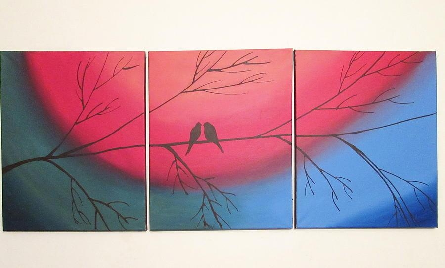 Rainbow Love Bird Landscape Abstract Bird Painting Triptych With Regard To Abstract Bird Wall Art (Image 18 of 20)