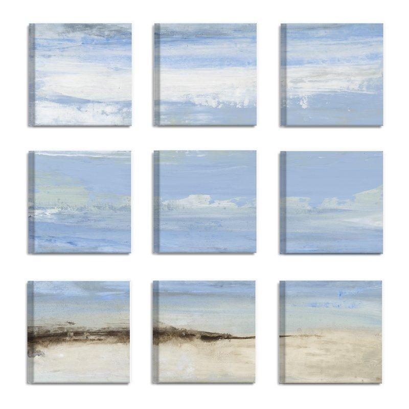 Rosecliff Heights 'abstract Beach Seascape' 9 Piece Canvas Wall Intended For Abstract Beach Wall Art (View 14 of 20)