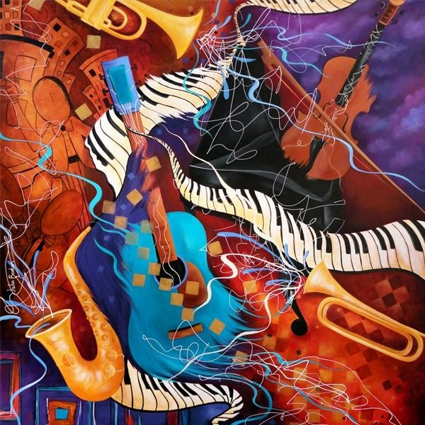 Sale Music Art Jazz Painting Juleez | Music Is Art | Pinterest For Abstract Musical Notes Piano Jazz Wall Artwork (View 19 of 20)