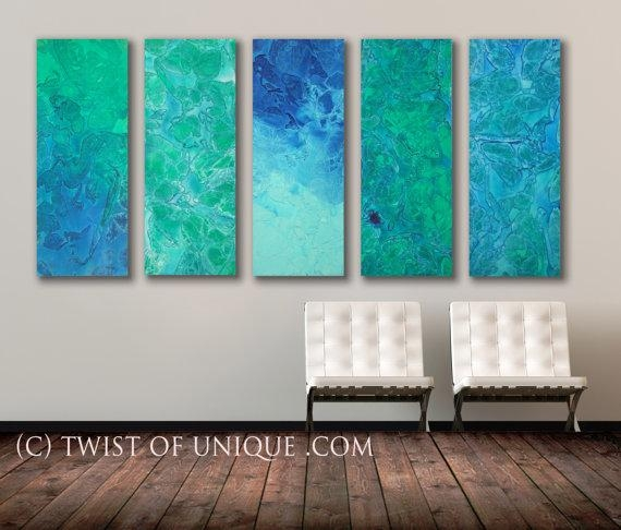 Seaglass Abstract Painting, 5 Panel Original (40 Inches X 16 Throughout Blue Green Abstract Wall Art (Image 16 of 20)