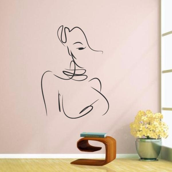 Sexy Abstract Line Art Beauty Girl Illustrations Wedding Decor Regarding Abstract Art Wall Decal (Image 16 of 20)