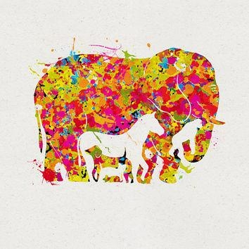 Shop Elephant Watercolor Painting On Wanelo Inside Abstract Elephant Wall Art (Image 19 of 20)