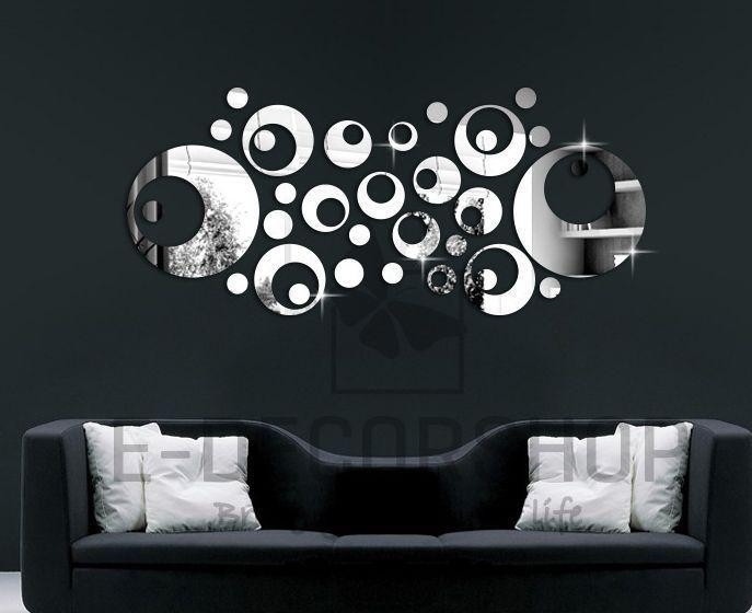 Silver Mirror Wall Decal Stickers Home Decor Living Room Abstract Within Abstract Art Wall Decal (Image 17 of 20)