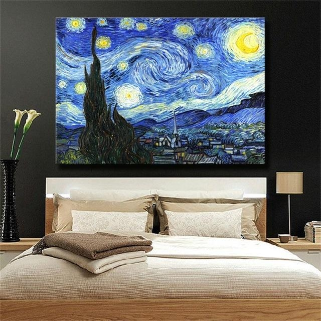 Starry Nightvincent Van Gogh Famous Reproduction Oil Painting With Vincent Van Gogh Wall Art (Image 13 of 20)