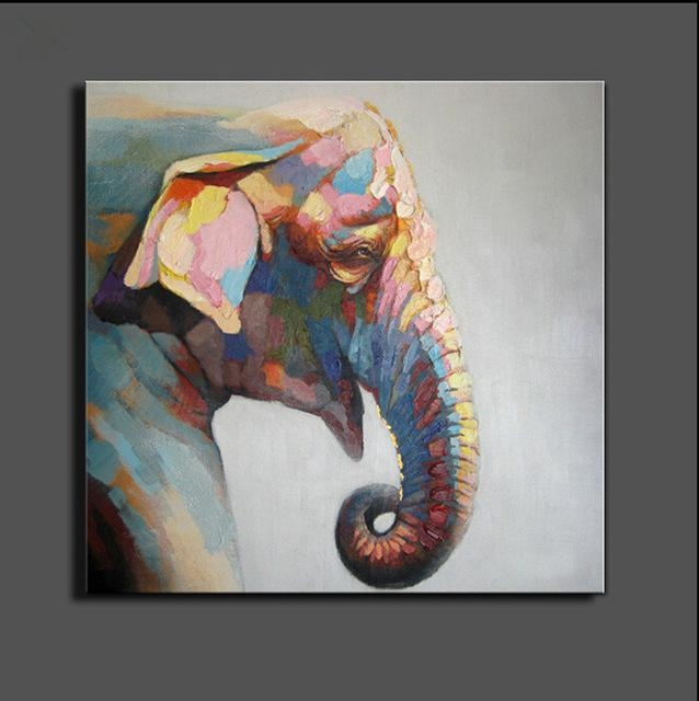 Stretched Elephant Canvas Painting Abstract Oil Painting On Canvas Regarding Abstract Elephant Wall Art (Image 20 of 20)