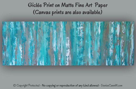 Teal Abstract Art Print Aqua Wall Art Blue & Brown Artwork Regarding Aqua Abstract Wall Art (Image 17 of 20)