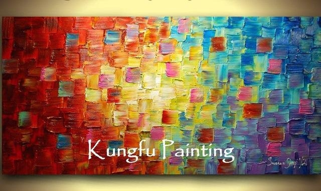 Tex1024 100% Hand Painted Good Quality Large Canvas Contemporary With Bright Abstract Wall Art (View 2 of 20)