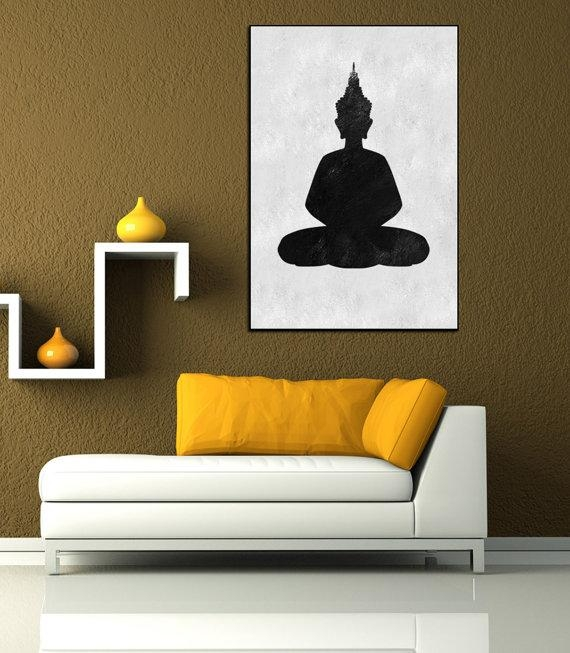 Textured Painting Canvas Art, Hand Painted Buddha Painting, Huge In Abstract Buddha Wall Art (View 5 of 20)