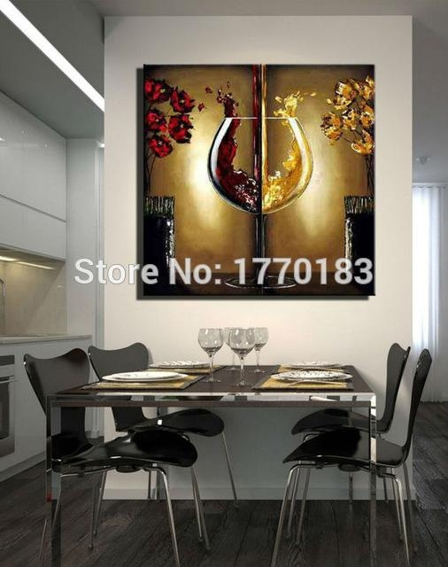 The Red Wine Glass Painting Handmade Modern Abstract Flower Oil Throughout Abstract Wall Art For Dining Room (Image 16 of 20)