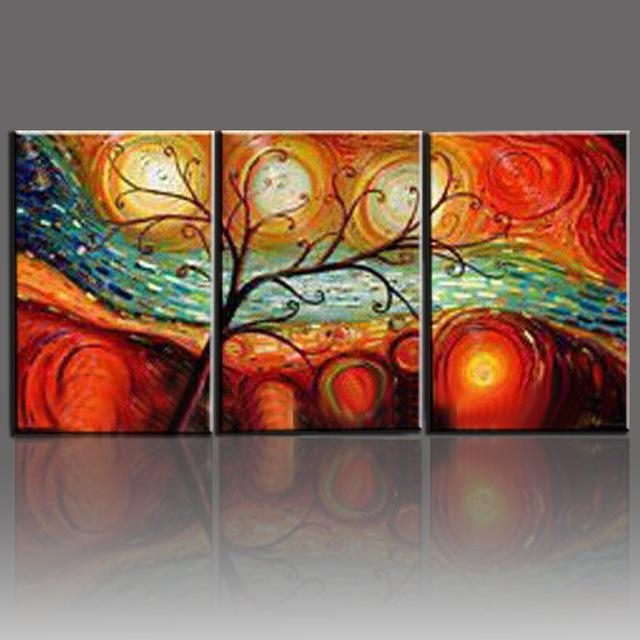Tree Landscape Oil Paintings Hand Painted On Canvas 3 Piece Modern Within Abstract Wall Art For Dining Room (Image 17 of 20)