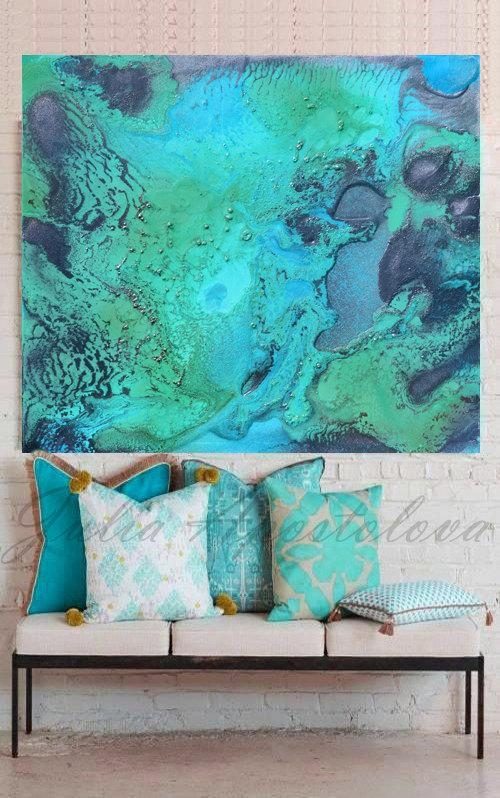 Turquoise Print, Aqua Wall Art, Abstract Painting, Tropical Water For Aqua Abstract Wall Art (View 15 of 20)