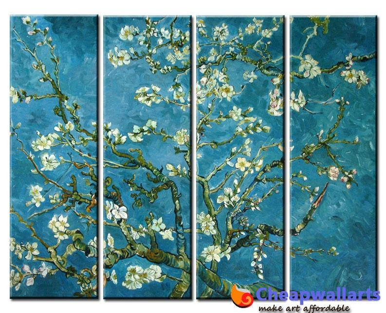 Van Gogh Almond Tree 4 Piece Art : Cheap Wall Art, Real Wholesale Intended For Almond Blossoms Vincent Van Gogh Wall Art (Image 13 of 20)