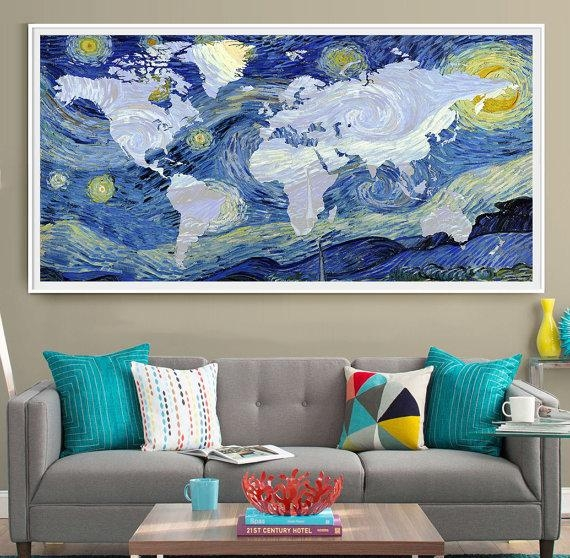 Van Gogh World Map Poster Print Extra Large Map Wall Art For Vincent Van Gogh Wall Art (Image 18 of 20)