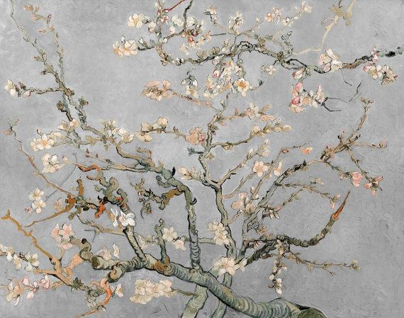 Vincent Van Gogh Almond Blossoms In Grey Gray 1890 Hd Canvas Pertaining To Almond Blossoms Vincent Van Gogh Wall Art (Image 17 of 20)