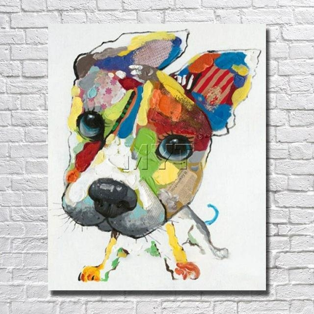 Wall Art Canvas Abstract Dog Painting Home Decor Living Room Decor Throughout Abstract Dog Wall Art (Image 19 of 20)