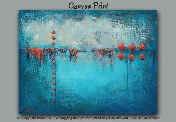 Wall Art Decor: Underwater Concept Large Abstract Canvas Wall Art Regarding Bright Abstract Wall Art (Image 15 of 20)