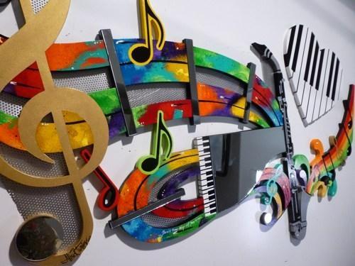 Wall Art Design Ideas: Abstract Golden Music Wall Art Metal Design Regarding Abstract Musical Notes Piano Jazz Wall Artwork (View 4 of 20)