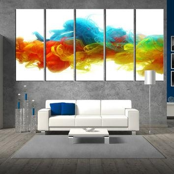 Wall Art Design: Oversized Abstract Wall Art Rectangle White Inside Blue Canvas Abstract Wall Art (View 13 of 20)