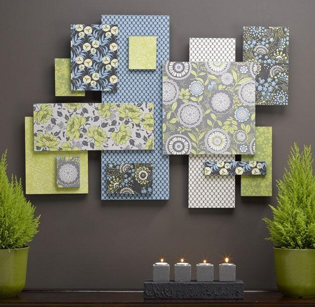 Wall Art Designs: Fabric Wall Art Art Made From Scrapbook Paper Throughout Abstract Fabric Wall Art (Image 11 of 12)