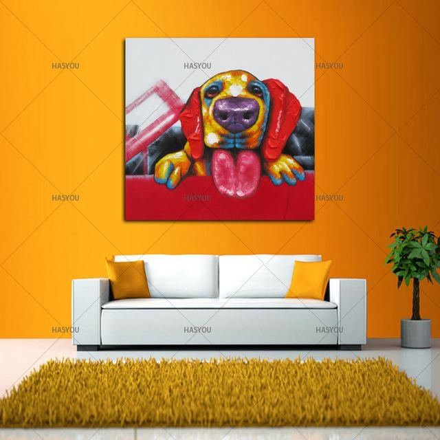 Wall Art For Large Fashion Painting Canvas Animal Picture Abstract Inside Abstract Dog Wall Art (Image 20 of 20)