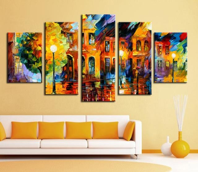 Wall Art Hot Sell 5 Piece Wall Art Sets Bright Color Abstract In Bright Abstract Wall Art (Image 20 of 20)
