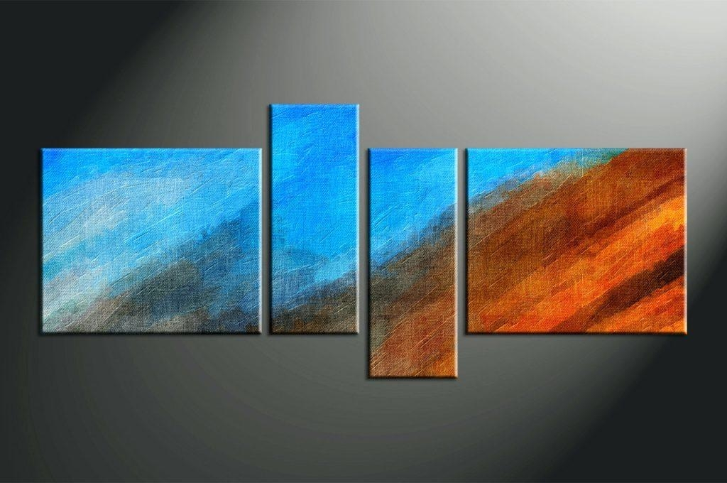 Wall Arts ~ Home Decor 4 Piece Canvas Wall Art Abstract Multi Throughout Dark Blue Abstract Wall Art (Image 20 of 20)