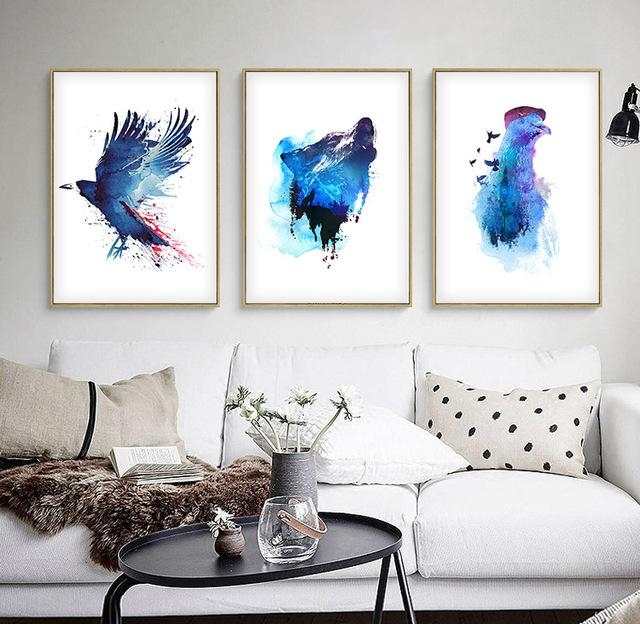Watercolor Nordic Blue Ocean Animals Diy Oil Painting Abstract With Diy Modern Abstract Wall Art (View 10 of 20)