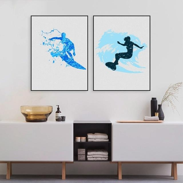 Watercolor Surfers Art Print And Poster , Modern Abstract Surfing Inside Abstract Wall Art For Bathroom (Image 19 of 20)