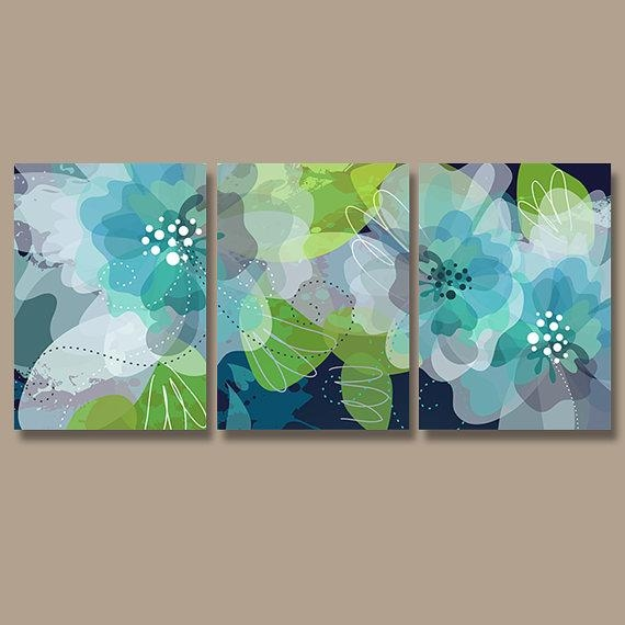 Watercolor Wall Art, Canvas Or Print Pottery Flower Artwork In Blue Green Abstract Wall Art (Image 20 of 20)