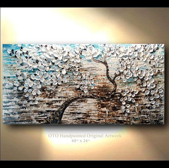 White Gold Brown Blue Flower Abstract Tree Painting Art Canvas For Blue And Brown Abstract Wall Art (Image 19 of 20)