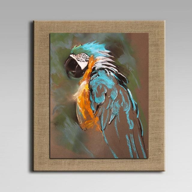 With Frame Cartoon Oil Painting On Linen Abstract Animal Wall Art Intended For Abstract Animal Wall Art (Image 20 of 20)